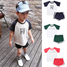 2019 new fashion tracksuit <strong>children</strong> baby boys <strong>set</strong> letter t-shirt + shorts 2pcs summer boy clothing <strong>sets</strong>
