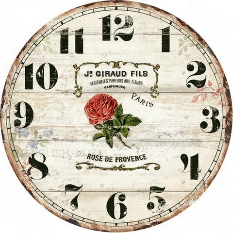 OLD STYLE VINTAGE MDF WOODEN WALL CLOCK WITH A ROSE PARIS DESIGN FOR HOME DECOR