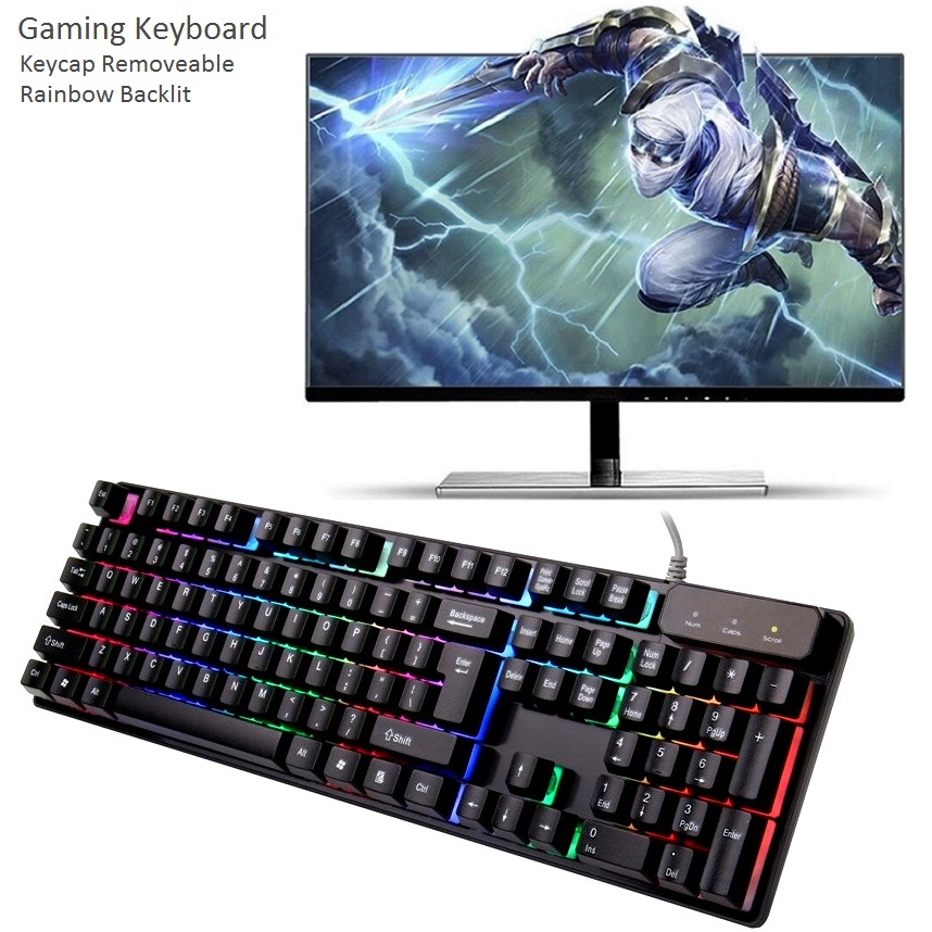 KR6300 Desktop Laptop Gamer Wired Rainbow LED Backlit Usb Ergonomic illuminated Cheap Gaming Keyboard Gamer