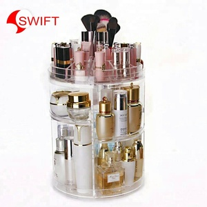 Acrylic 360-degree rotating cosmetic makeup organizer storage box