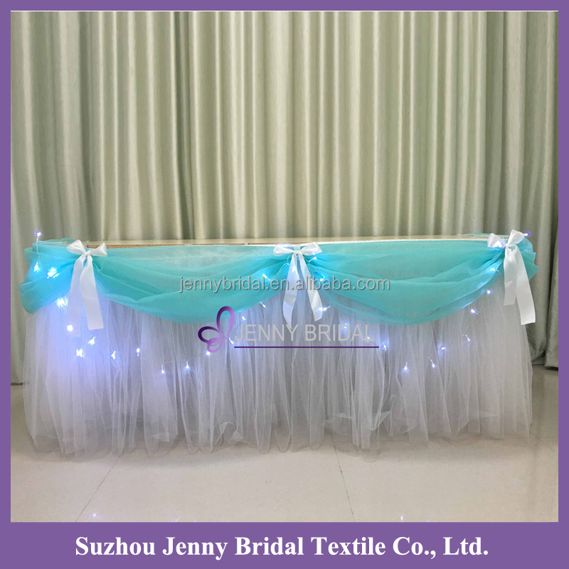 TC141D new design turquoise organza swag white tutu table skirt wedding decoration table cloth