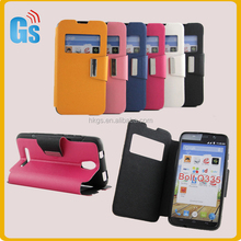Wholesale Mobile Phone Open Window Leather Flip Folio Cover Case For Micromax Bolt Q335