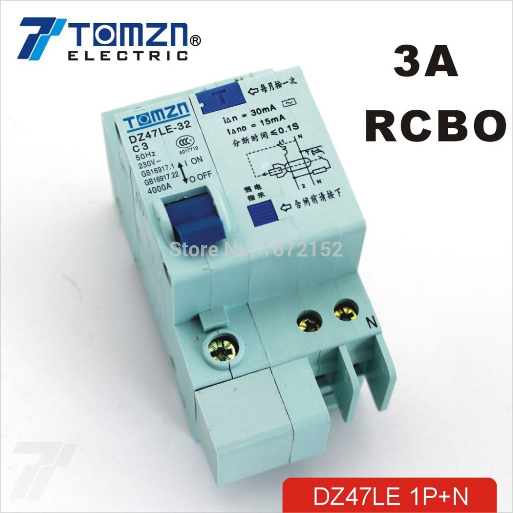 DZ47LE 1P+<strong>N</strong> 3A C type 230V~ 50HZ/60HZ Residual current Circuit breaker with over current and Leakage protection RCBO