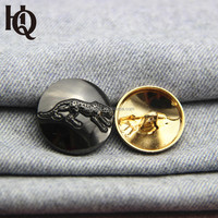 High-end 3D leopard pattern engraved metal shank buttons for garments
