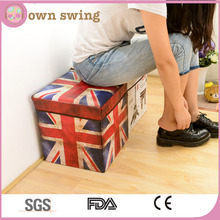 Folding Storage Ottoman Bins Box Foldable Stool Seat Union Jack for Home Car Trunk