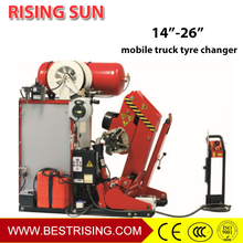 Mobile tire changer wheel repair machine for truck