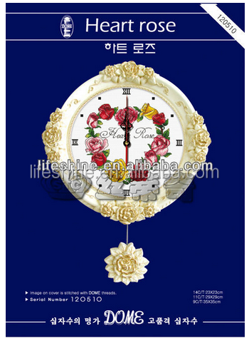 "Beautiful clock kits""heart rose""cross stitch, cross stitch kit, DIY embroidery kit to you"