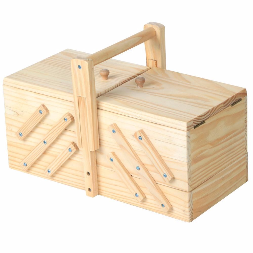 Wholesales packaging box cheap pine unfinished cantilever folding wooden tool storage sewing box