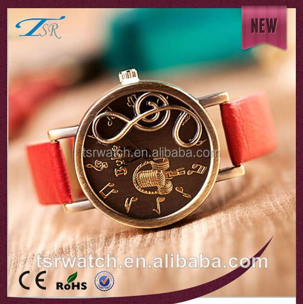 music round dial fashion big wrist watches for women,leather strap watch