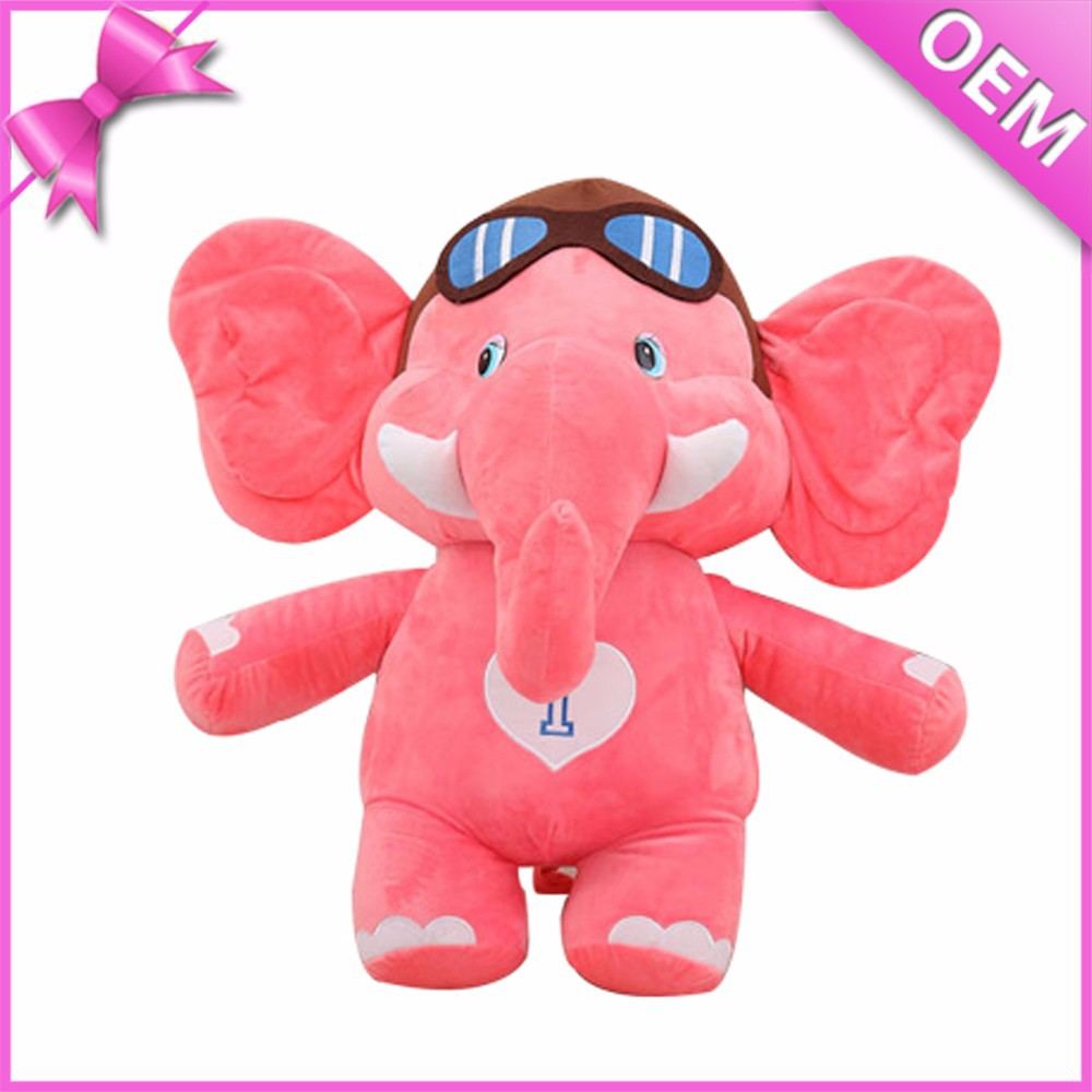 Elephant Plush Toy Wholesale, Plush and Stuffed Elephant Toys with Big Ears, Big Ears Pink Plush Elephant