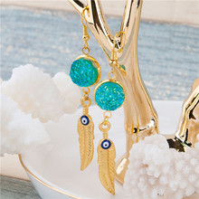 Resin Druzy /Drusy Gold Plated Green AB Color Feather Evil Eye Enamel Dangler Earrings
