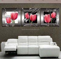 Free Shipping Modern Picture Set 3 piece wall art on Canvas Painting Home Decoration red flowers for lovers picture printed