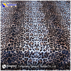China manufacturer animal printed velboa fabric paper printed animal skin velboa slipper fabric