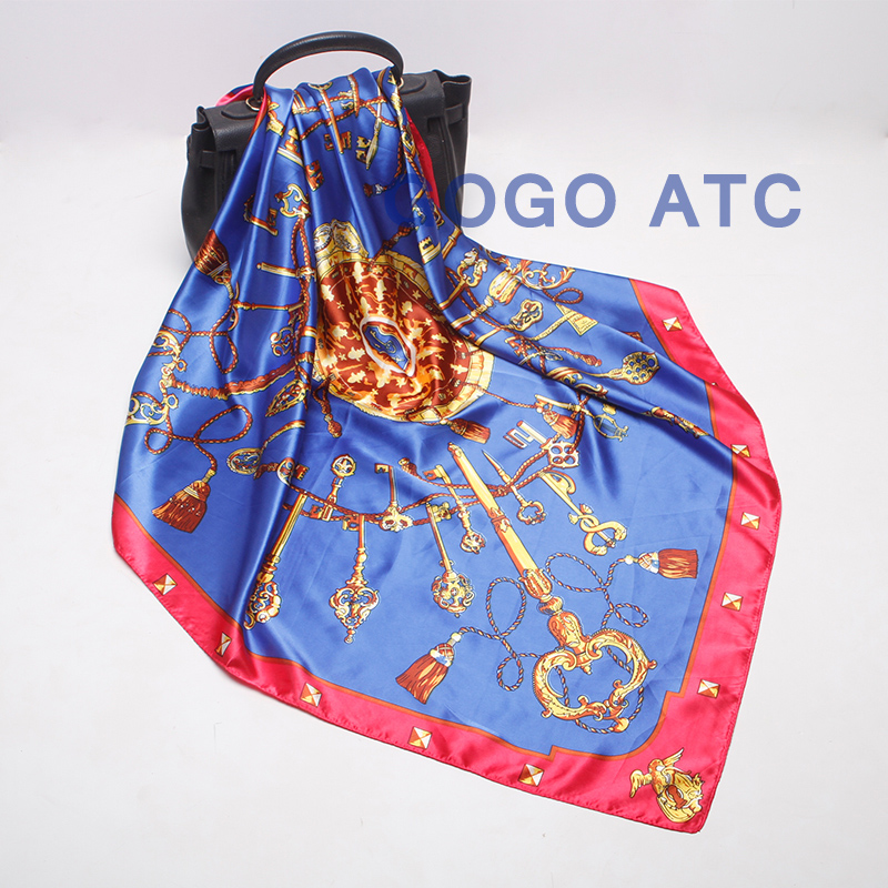Square printing high-grade silk scarf printed head scarf for women