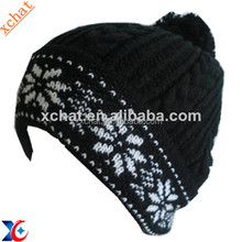 knitting jacquard patterns custom knitted pom beanie hat and cap