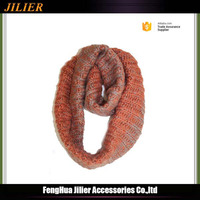 2016 New Acrylic Knitted Gradient color Women Loop Circle round scarf girl christmas knitted scarf