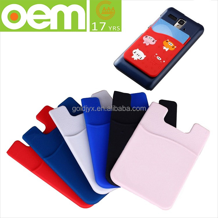 customized 3M silicone ID card smart wallet mobile card holder,silicone phone pocket