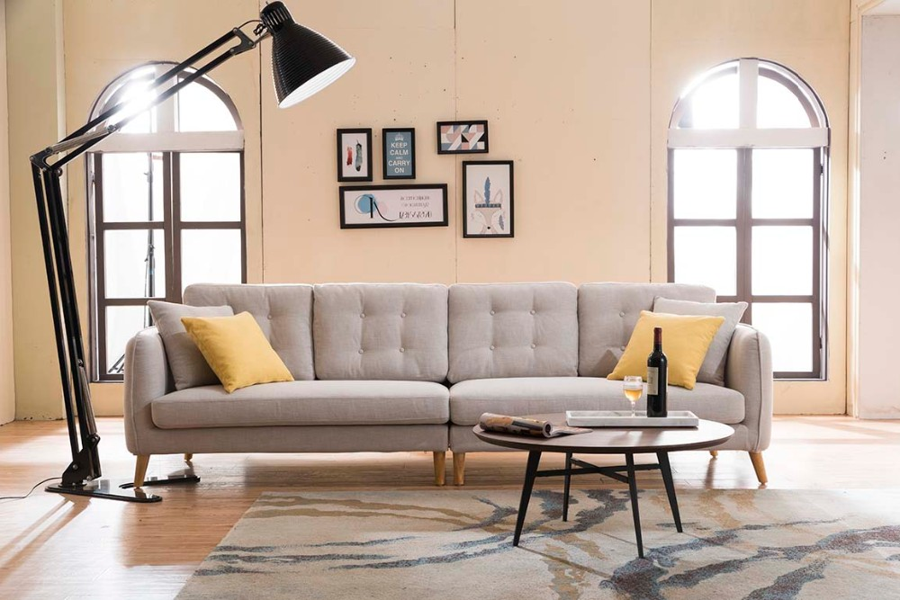 Corner seat fabric modern sofa set