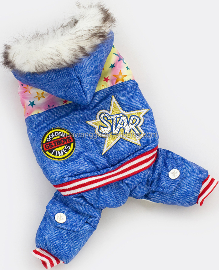 2016 new arrival pet dogs super warm winter jumpsuit thick clothing with fur hooded