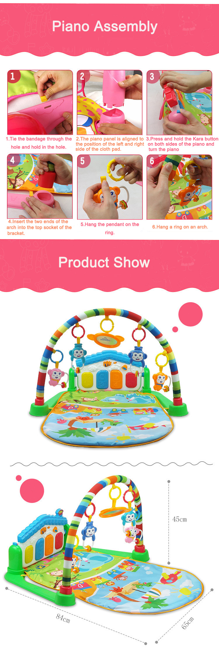China Wholesale Price Multifunctional Activity Cute Crawling Baby Play Mat With Piano