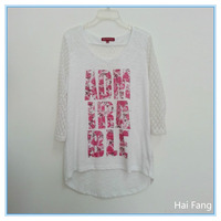OEM Ladies Womens Lace Crochet Long Sleeve Shirt Casual Blouse Tops T-shirt Front with Colorful Letters Printing