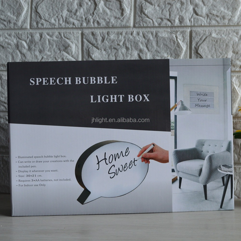 2017 Hotsale Speech Bubble Lightbox, Writable Speech Box, Beschrijfbare Verlichting