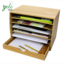 Fill rack Desktop Bamboo Literature Organiser with drawer for home and office