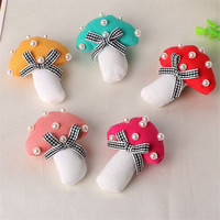 New design custom mushroom shape fabric pin children lapel pins for clothes