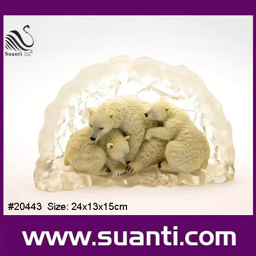 2016 China Supplier New Products Decorative OEM/ODM Lovely Round Crystal White Polarbear Resin Wildlife Craft