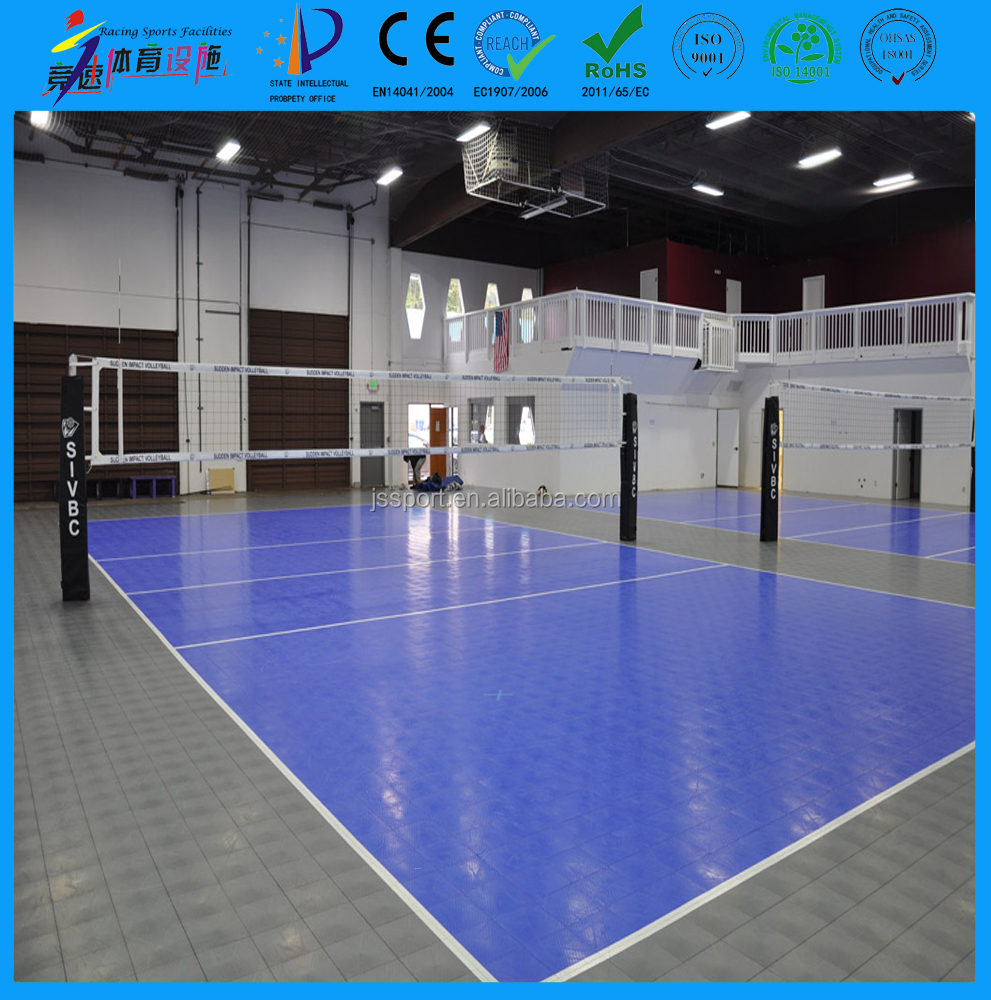 Factory price PP polypropylene copolymer indoor outdoor volleyball court flooring material manufacture with gridded surface
