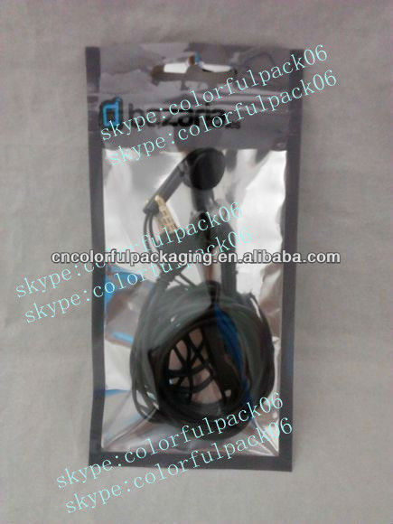 Custom printed stereo earphones plastic bag with euro slot&zipper