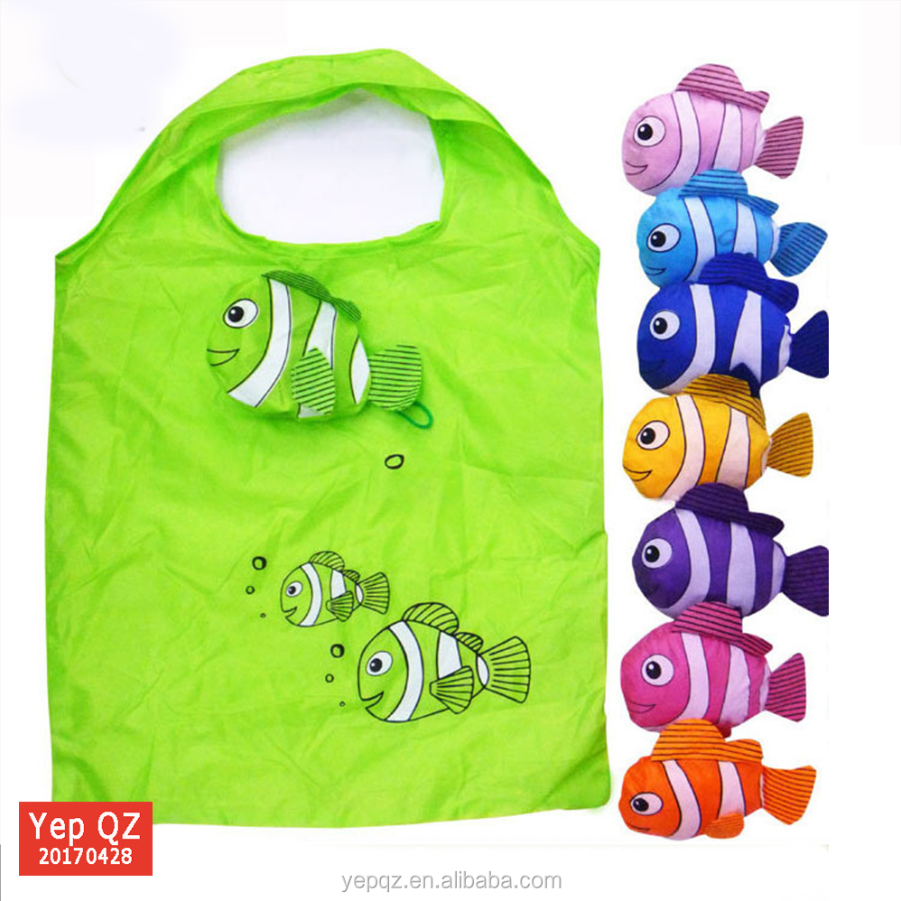 Wholesale promotional grocery tote custom fish design foldable reusable shopping bag