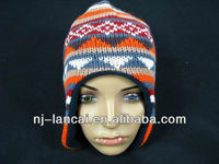 2016 Hot 100%acrylic knitted Aztec jacquard custom trapper hat with fleece lining