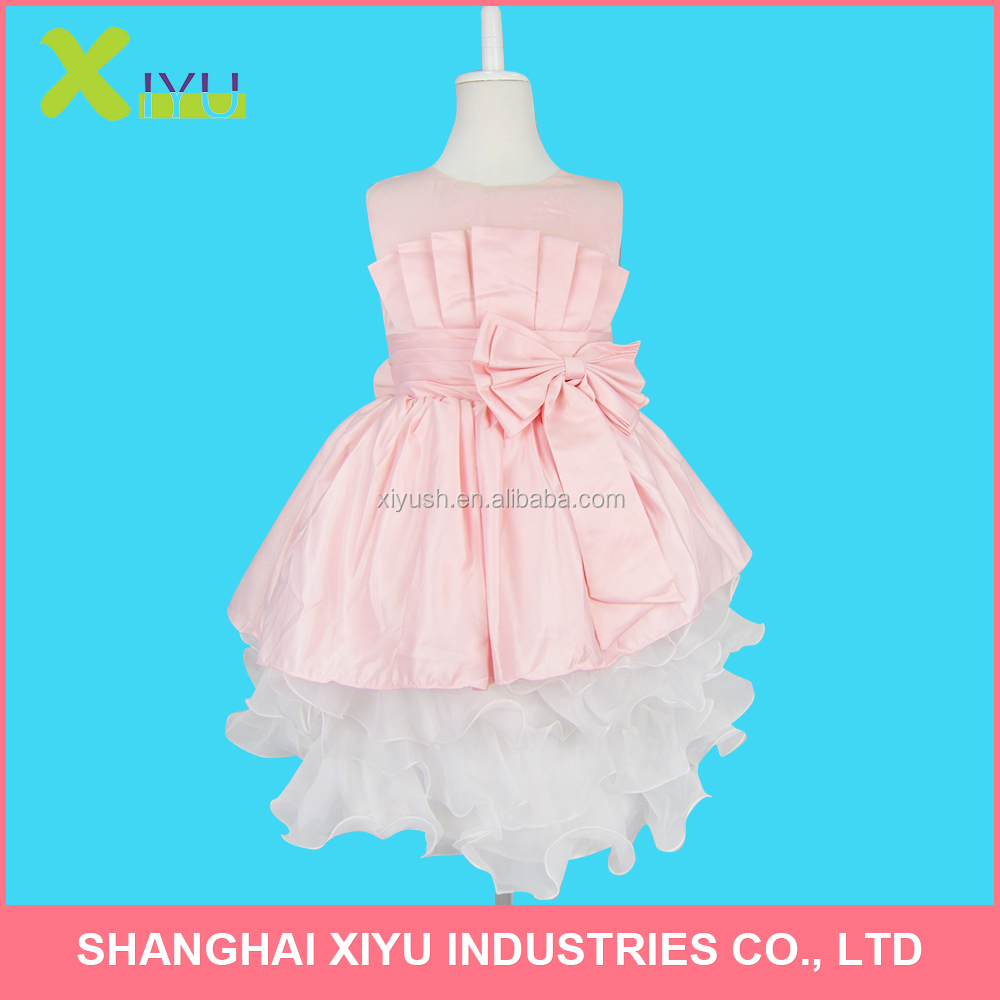 girl kids princess dress with big pink bow sleeveless pleated big bottom girls dress