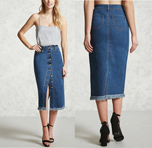 Latest long denim skirts fashion wholesale girls pencil skirt with button closure