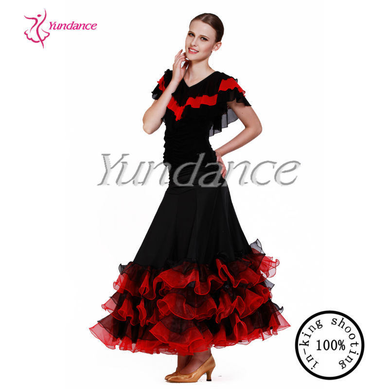 hot sale flamenco dance skirt red black AB033