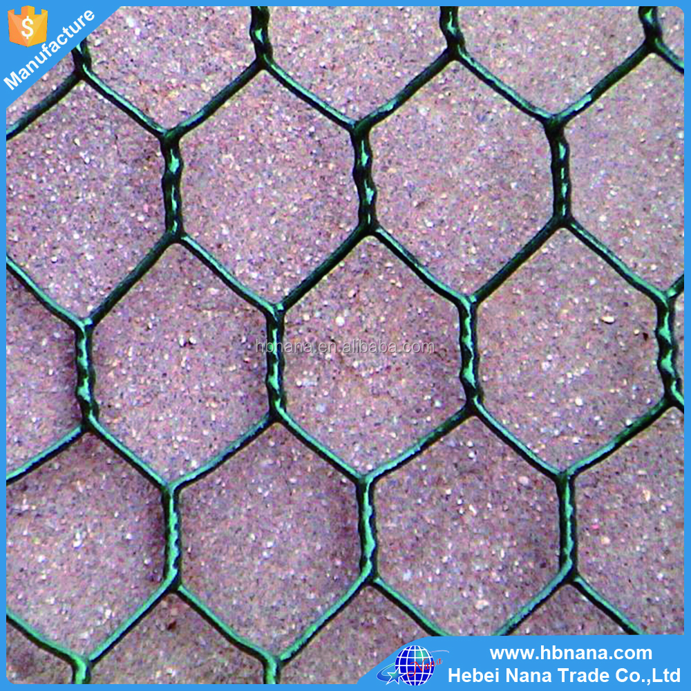 1 inch 20 Gauge PVC Coated Green Hexagonal Wire Mesh / Hex Netting