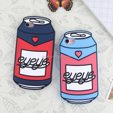 Mobile Phone Accessories 3D Custom Design Drink Bottle Soft Mobile Silicone Rubber Case For iPhone 7 7Plus 6 6Plus