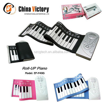 49-key digital roll up piano,silicone waterproof piano, flexible hand roll up piano