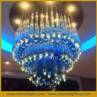 feather blue wedding chandelier lighting with big clear crystal pendants