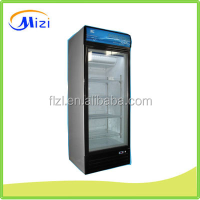 Showcase upright freezer with glass doors for drinks