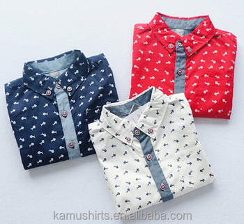 Boys buttons down printed shirts fashion new design shirts for children