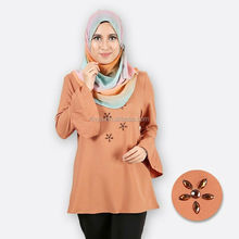 Wholesale fashion design muslim lady blouse long saloma sleeves bead top