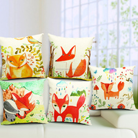 throw pillow case with little foxes printed STPC014