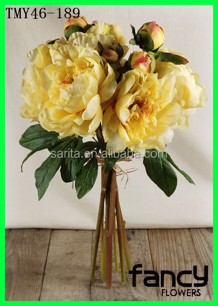 2014 Decorative Artificial Flower Peony Bouquet Silk in Yellow
