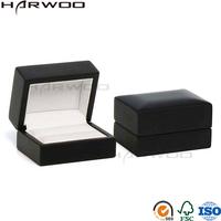 Harwoo brand gift box jewelry popular black double fancy ring box jewelry