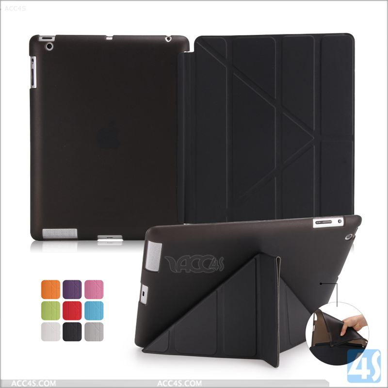 For ipad 4 case one piece design, for apple ipad 4 3 2 smart cover 3 fold