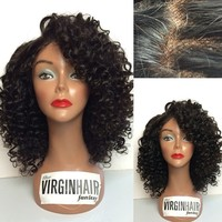 2016 cheap kinky curly virgin short brazilian hair full lace wig for black woman