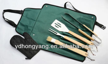 4- Pieces wooden handle mini bbq tools with glove