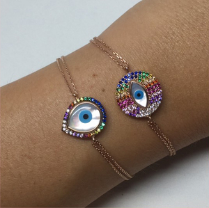 2017 gold plated fashion jewelry tear drop round mother of pearl rainbow color factory wholesale fashion copper bracelet